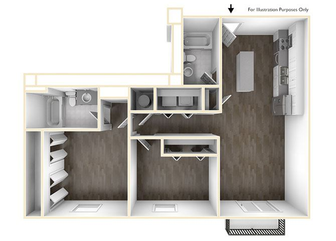 2 Bedroom Floor Plan at Skyline Tower Apartments, Indiana, 46802
