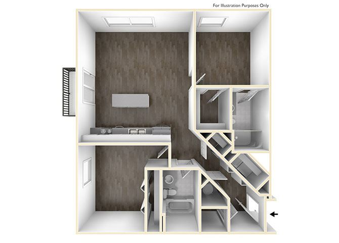 Two Bedroom Floor Plan at Skyline Tower Apartments, Indiana