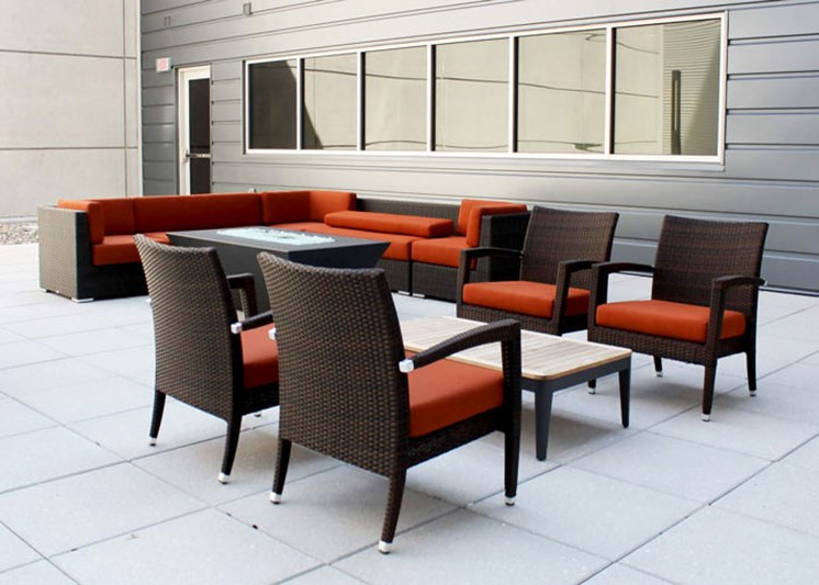 Private courtyard at Skyline Tower Apartments, Fort Wayne, 46802