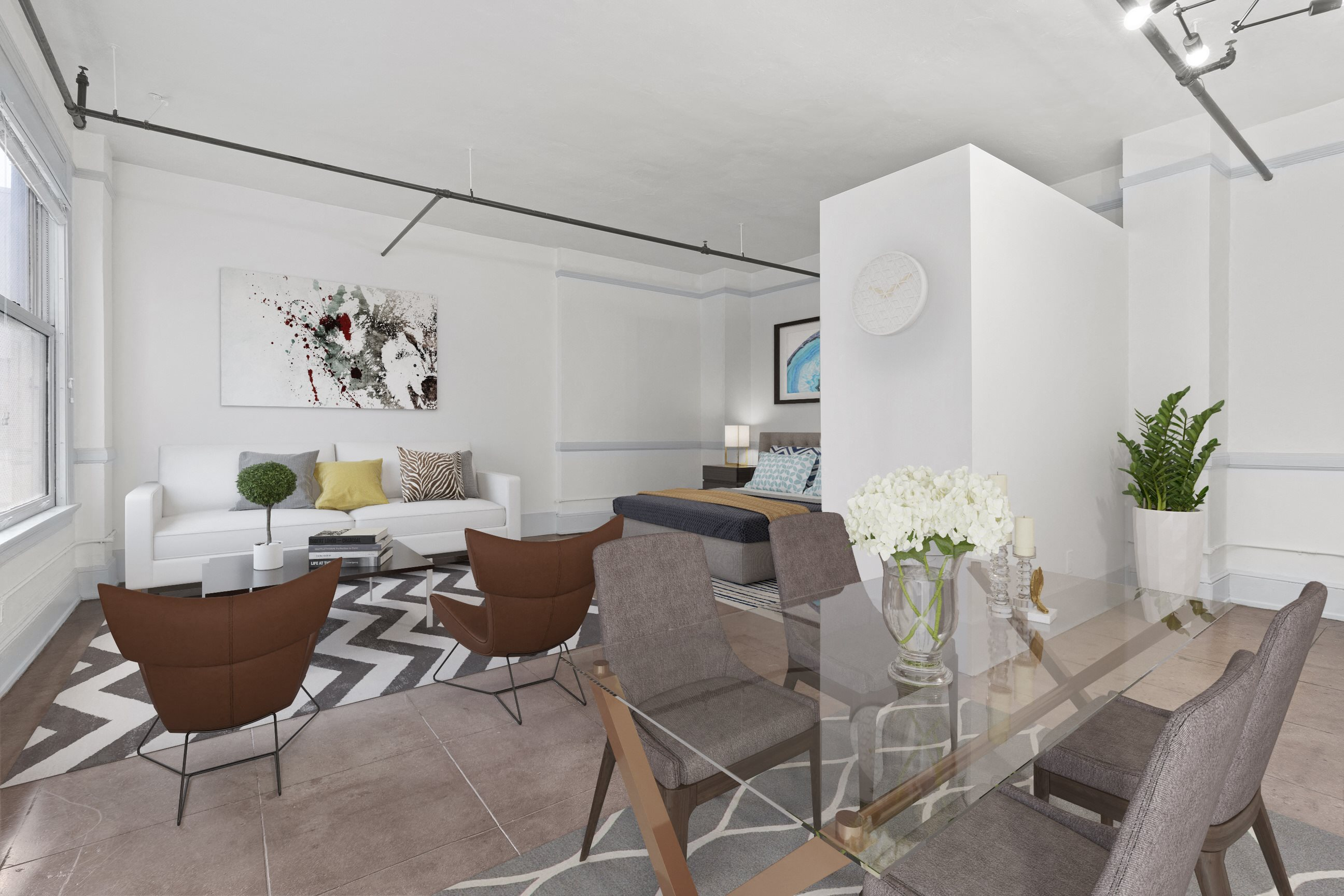 Living Area at Santa Fe Lofts, 121 E 6th Street, Downtown Los Angeles, CA 90014