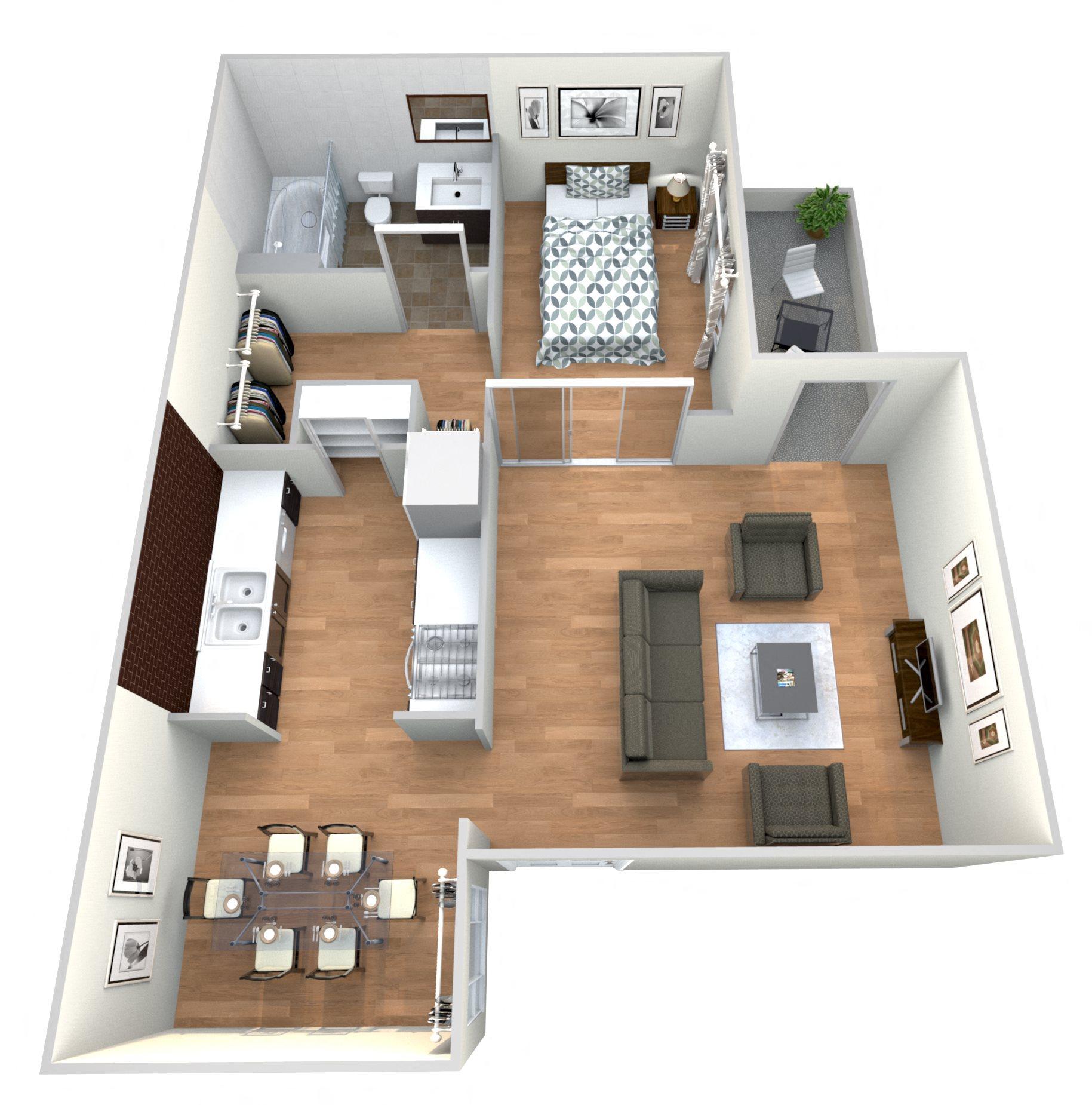 1 Bed 1Bath A Floor Plan 2