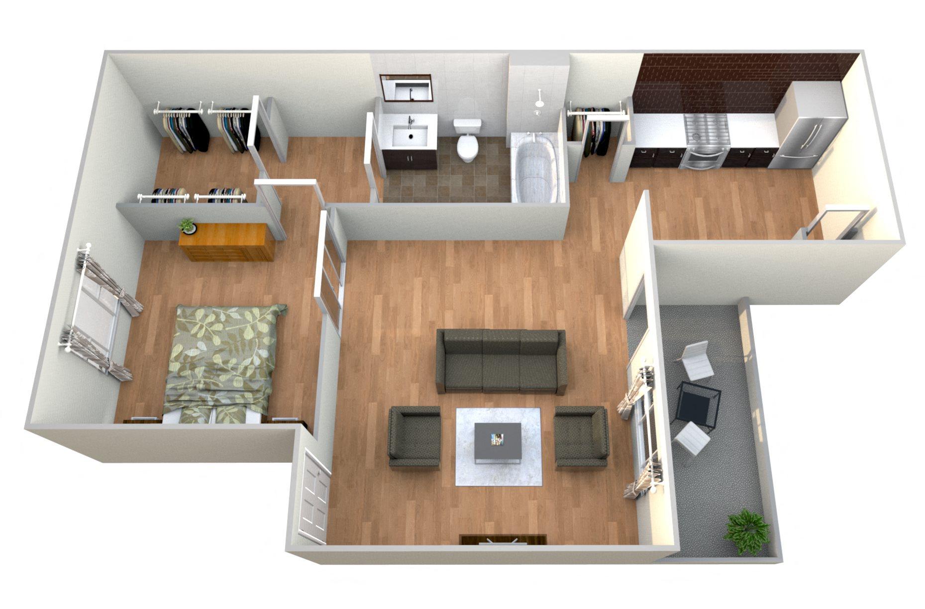 1 Bed 1Bath B Floor Plan 3
