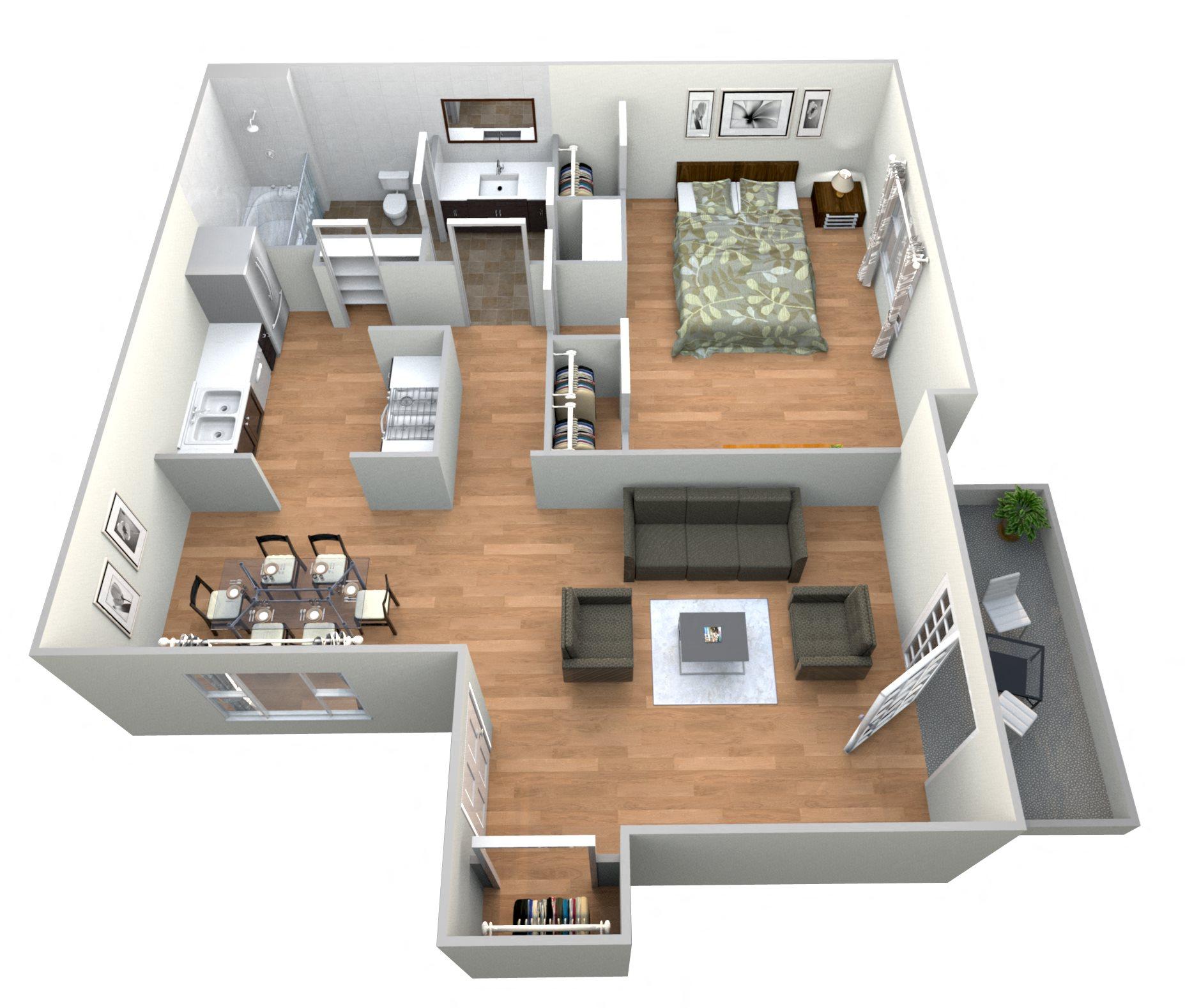 1 Bed 1Bath C Floor Plan 4