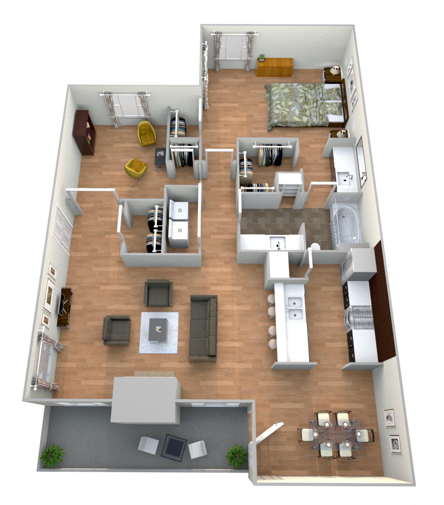 1 Bed 1Bath Den Floor Plan 1