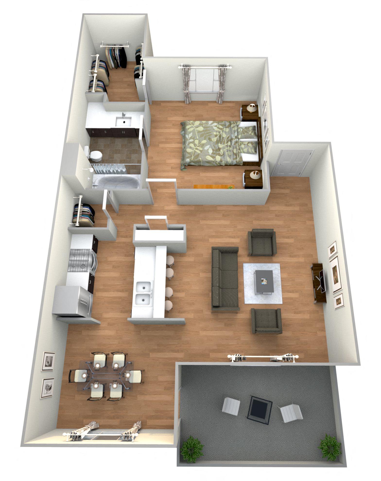 1 Bed 1Bath E Floor Plan 5