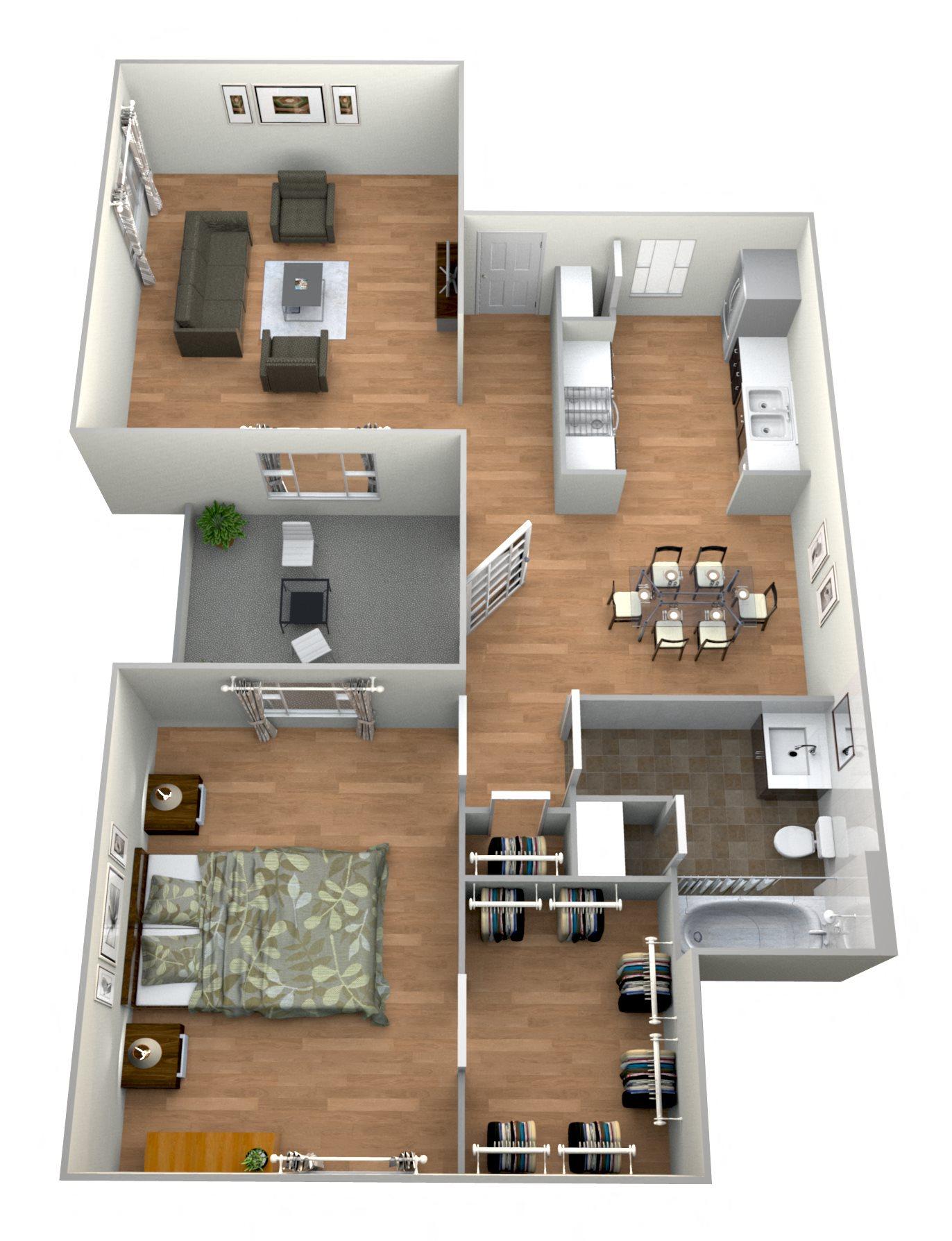 1 Bed 1Bath F Floor Plan 6