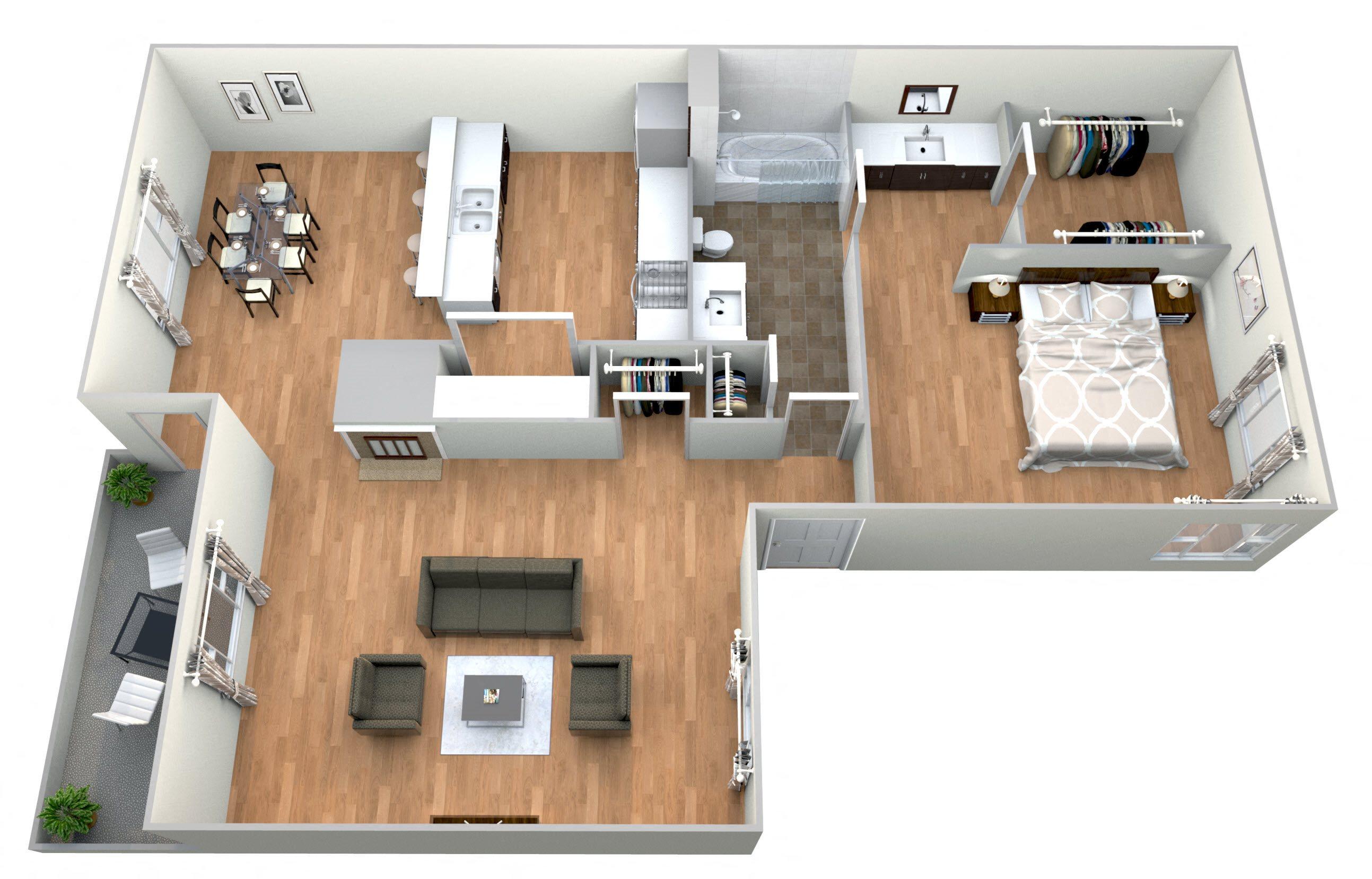 1 Bed 1Bath G Floor Plan 7