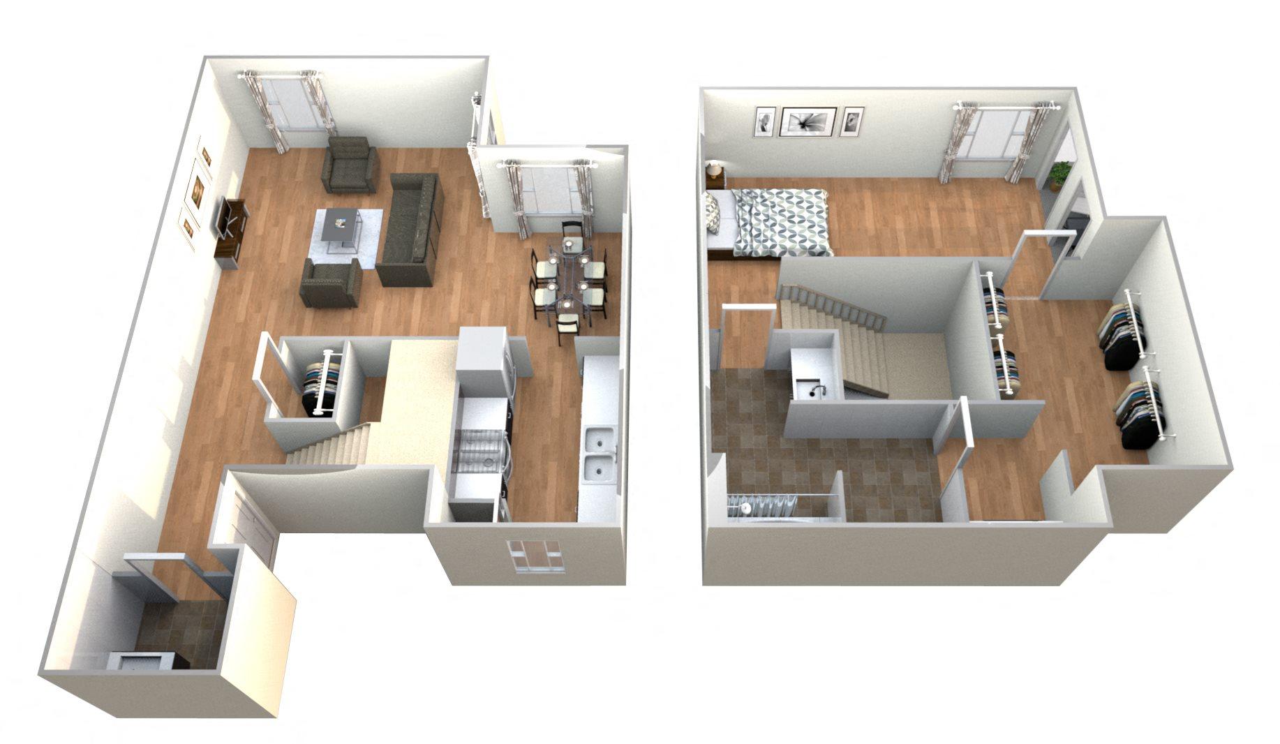 1 Bed 1Bath T Floor Plan 9