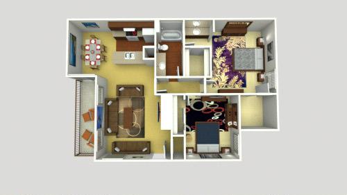 2 Bed 1 bath B Floor Plan 10