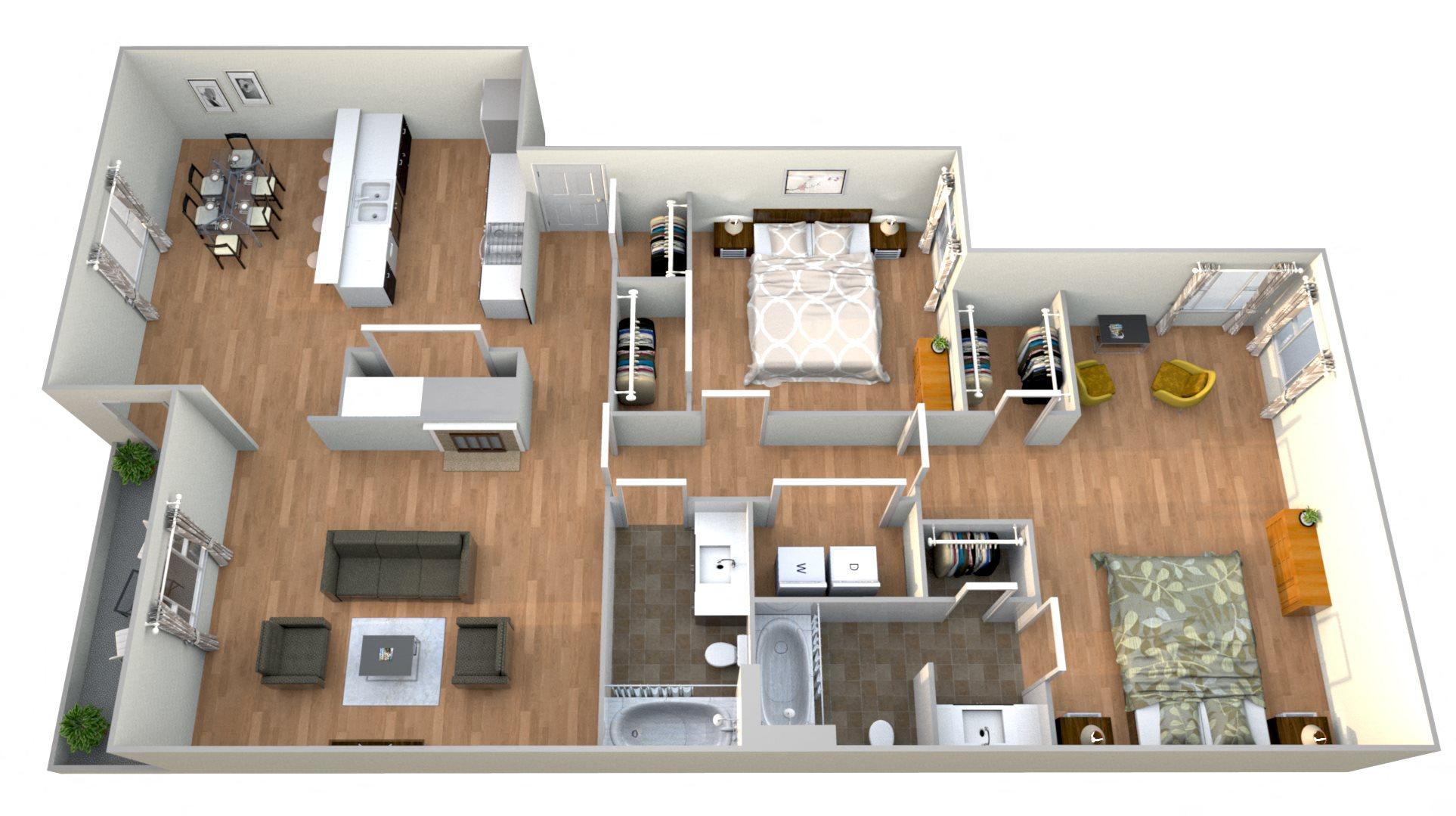 2 Bed 2 Bath B Floor Plan 13
