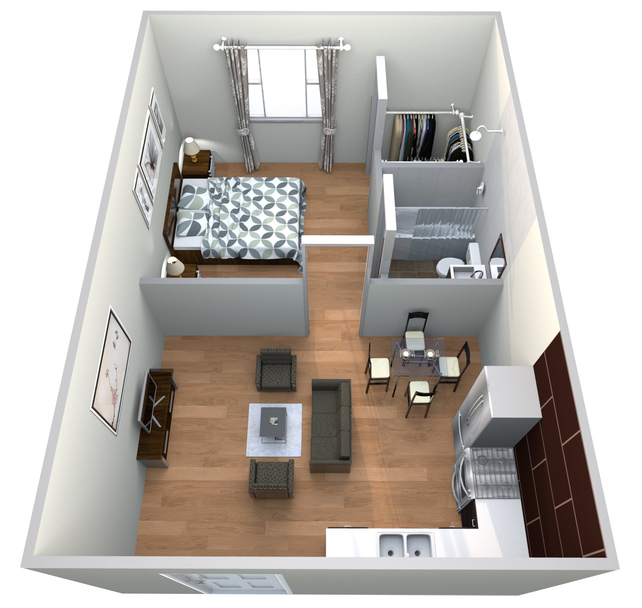 #20 Atrium - 1 Bedroom w 1 Bath Floor Plan 7