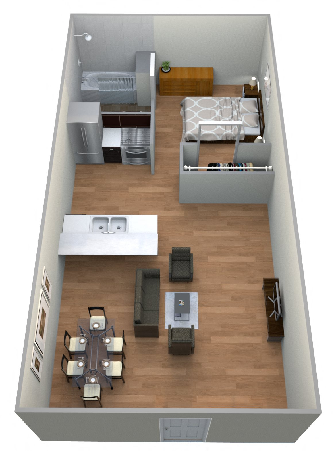 #12 Couryard 1 Bedroom w/ 1 Bathroom Floor Plan 13