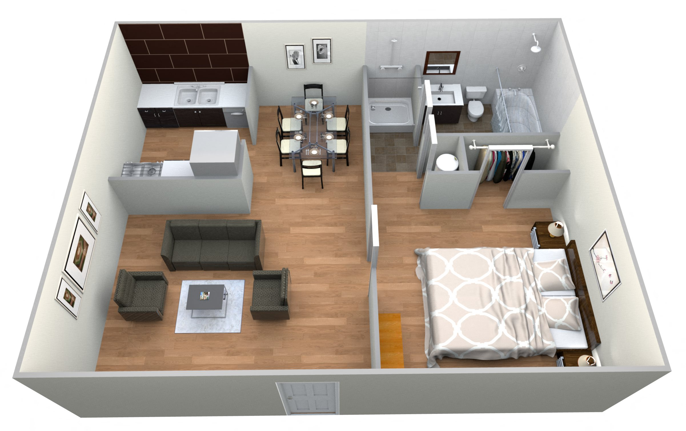 #18 Cottages - 1 Bedroom w 1 Bath Floor Plan 9