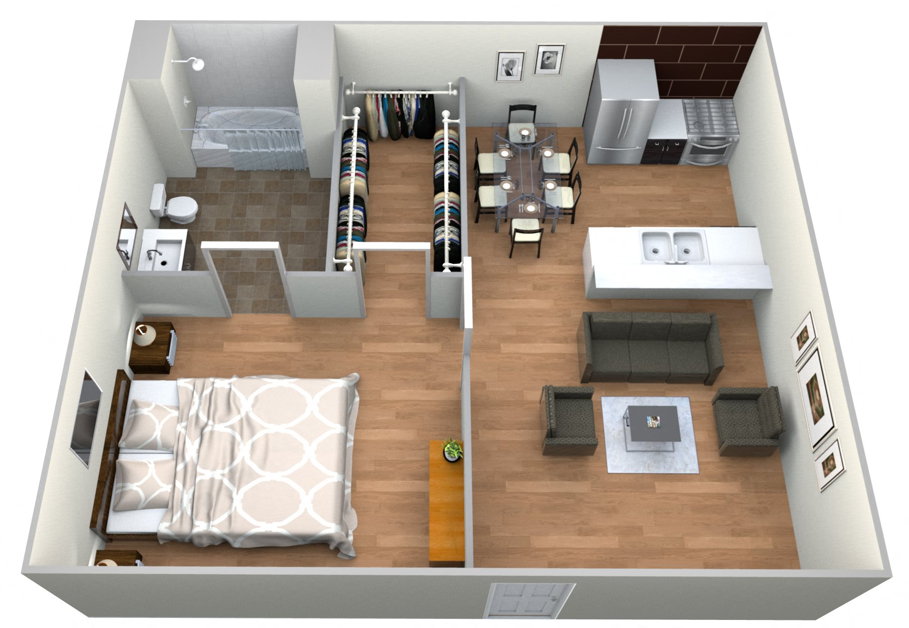 # 30 Drive Ups - 1 Bedroom w/ 1 Bath Floor Plan 8
