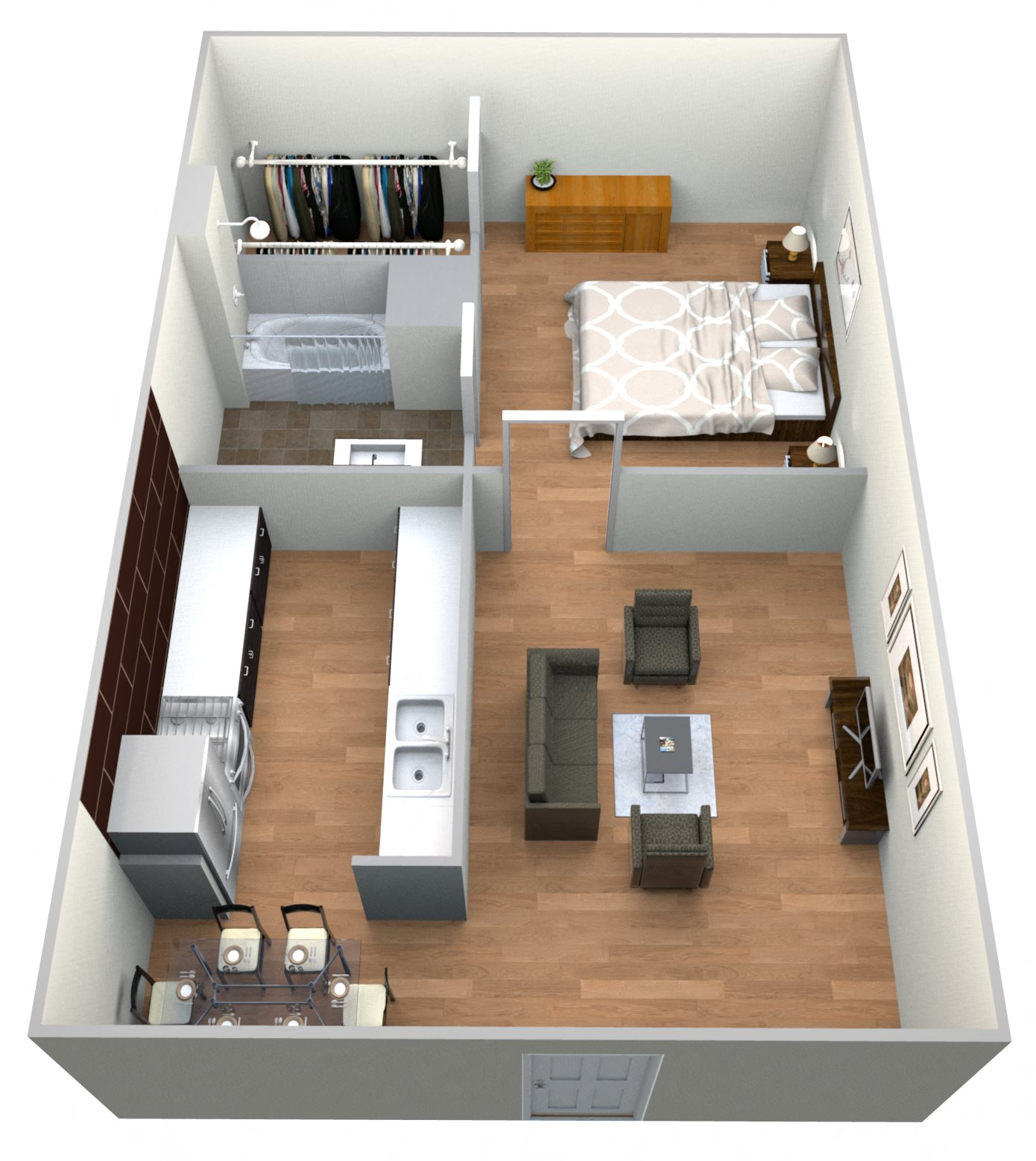 Bldg 8 - 1 bed 1 bath Floor Plan 2