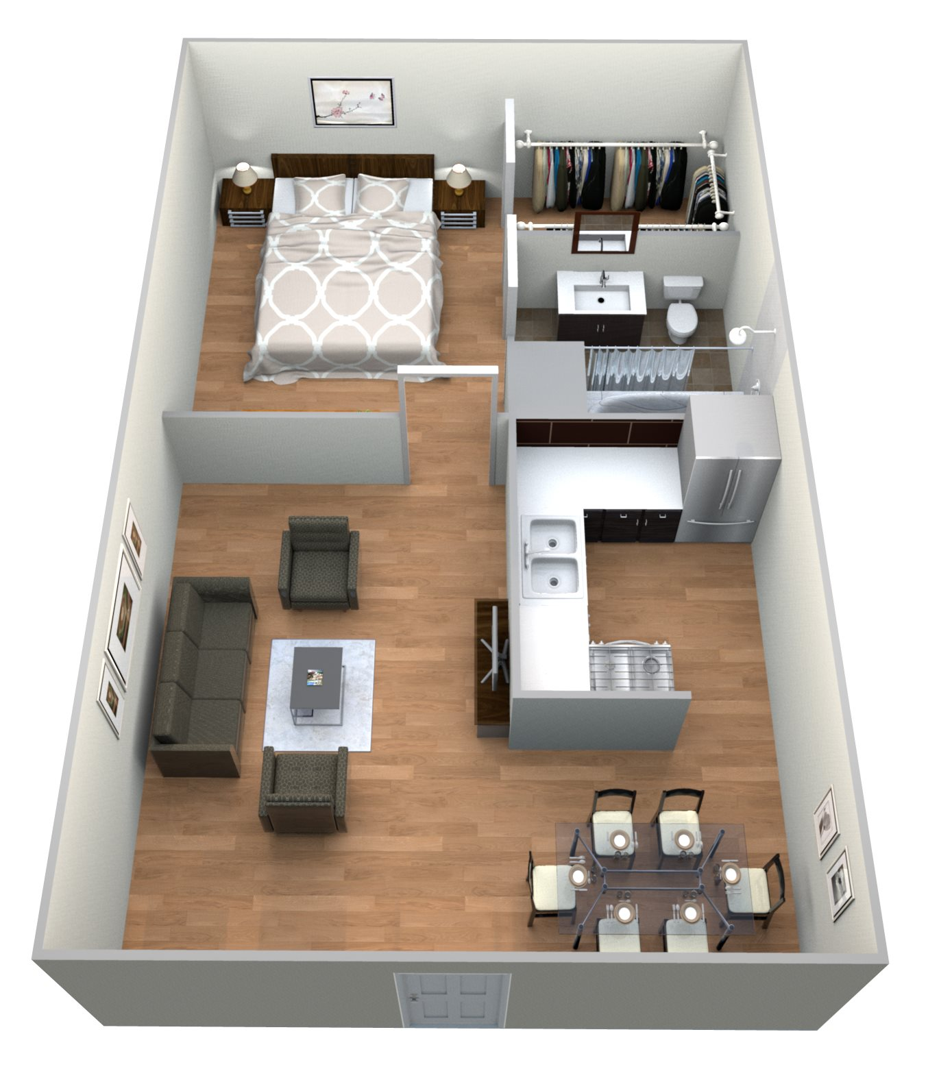 #4 Courtyard 1 Bedroom w 1 Bath Floor Plan 12