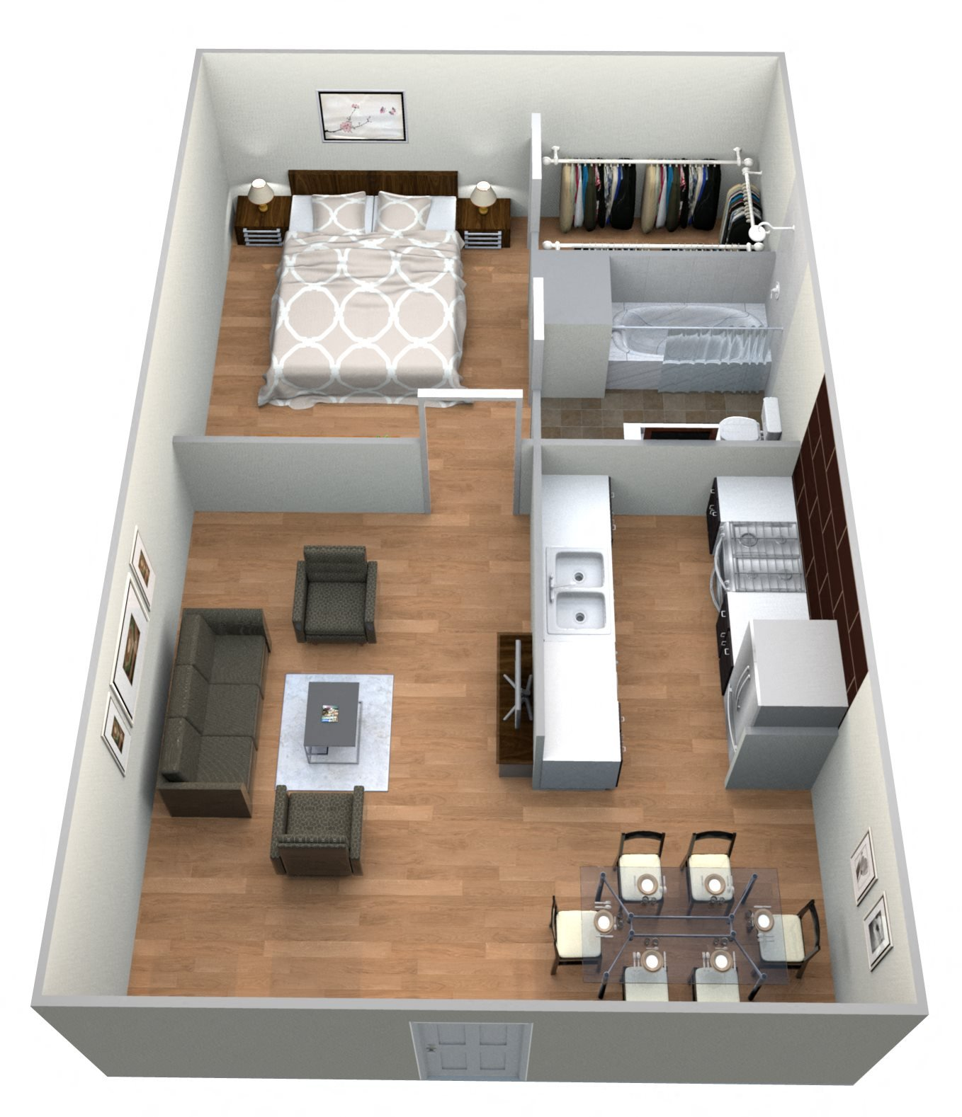 #6 Courtyard 1 Bedroom w 1 Bath Floor Plan 14