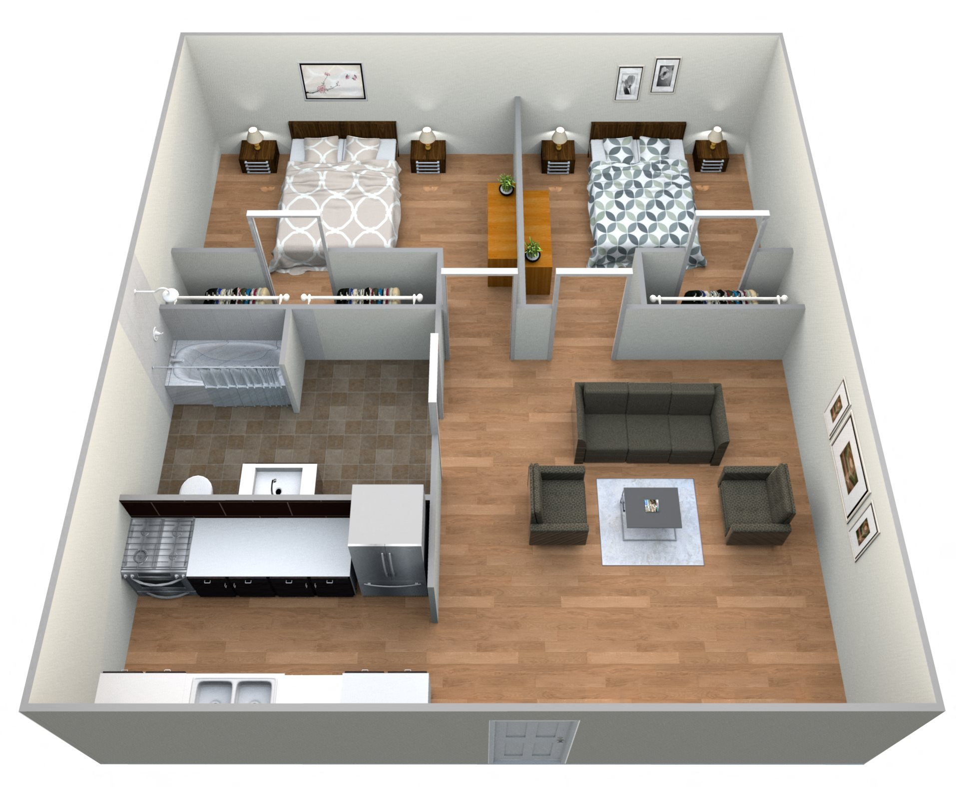 #8 Atrium 2 Bed w/ 1 Bath Floor Plan 10