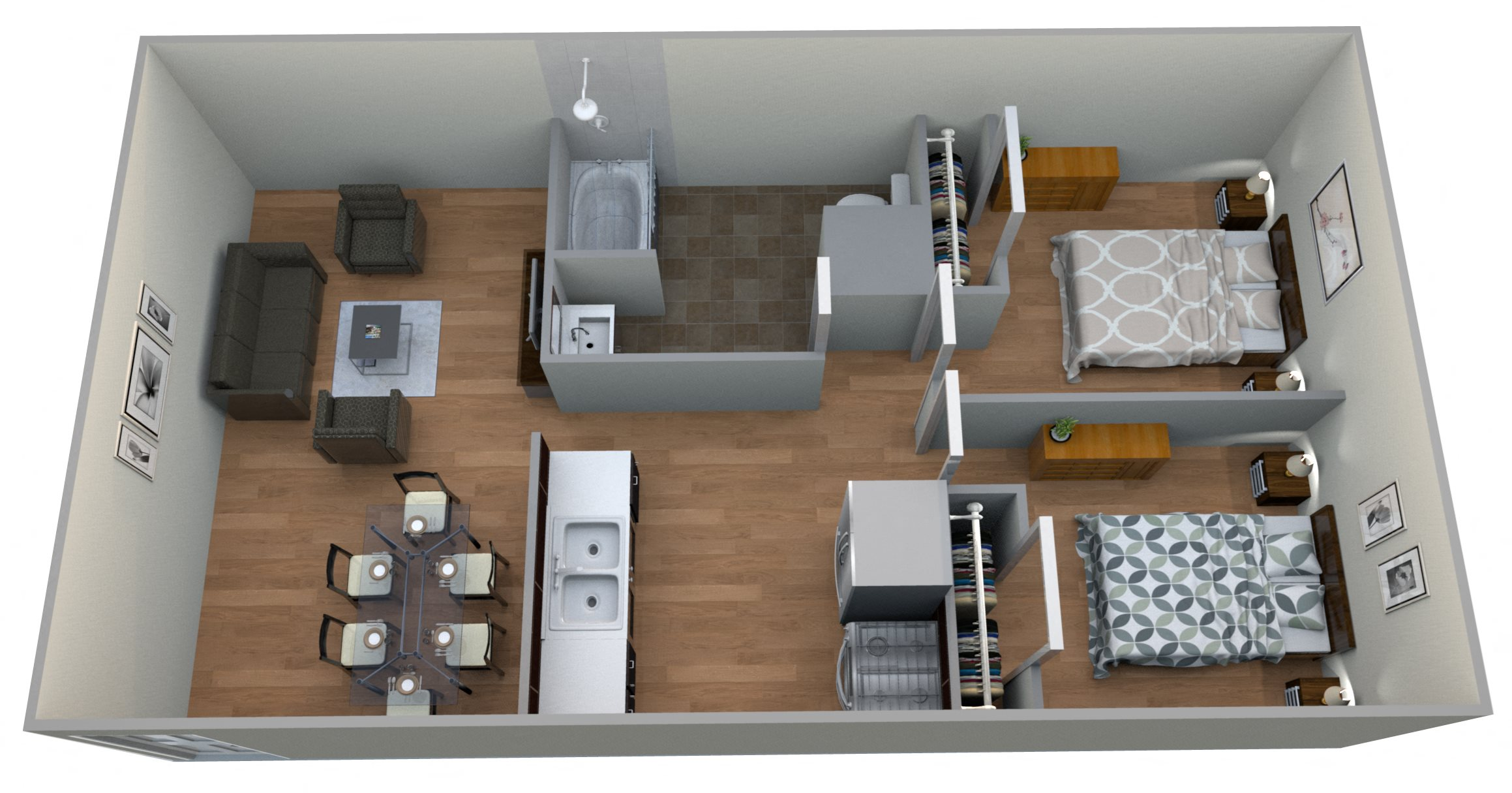#2 Courtyard - 2 bed 2 bath Floor Plan 5