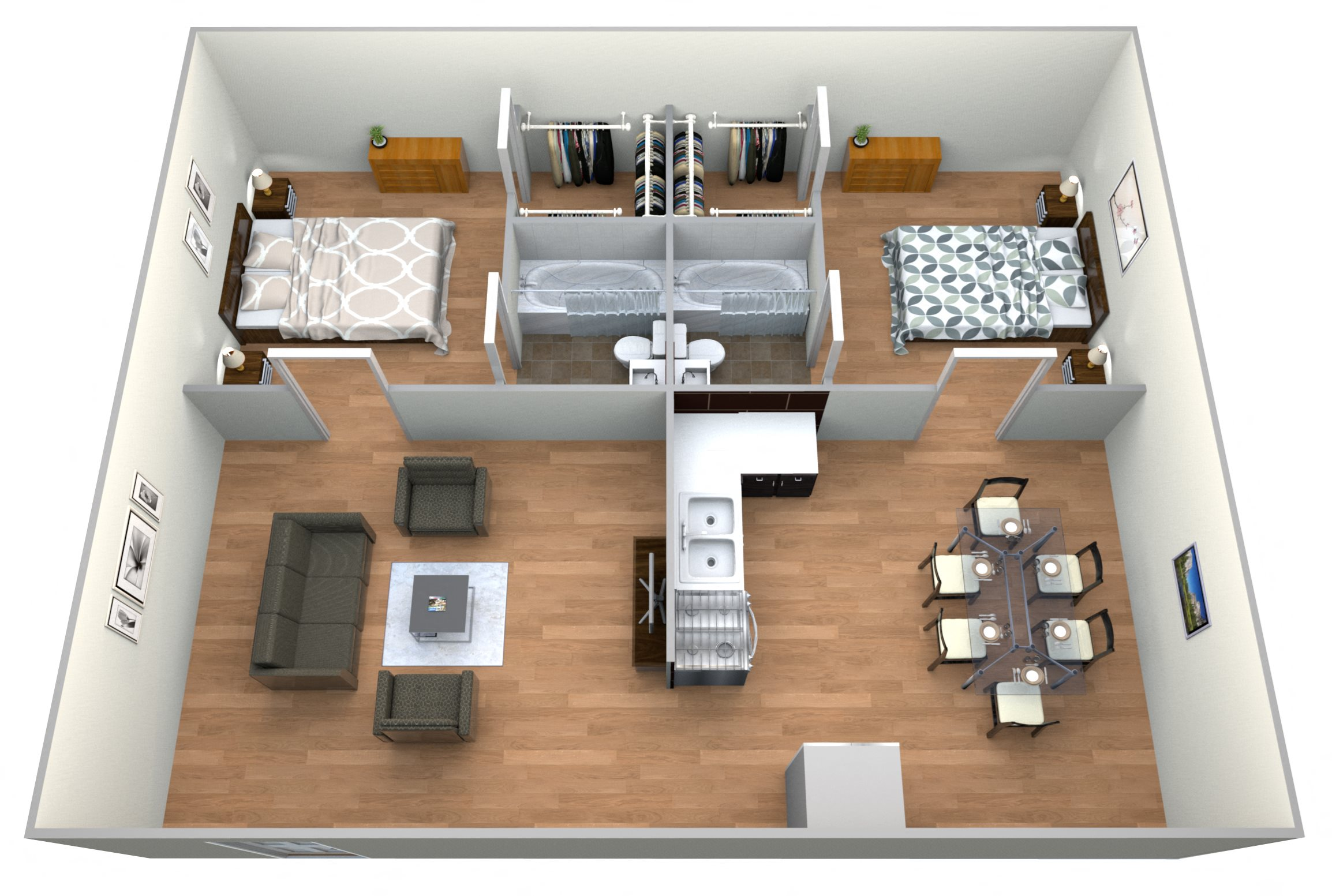 #6 Crisscross 2 Bedroom w/ 2 Baths Floor Plan 6