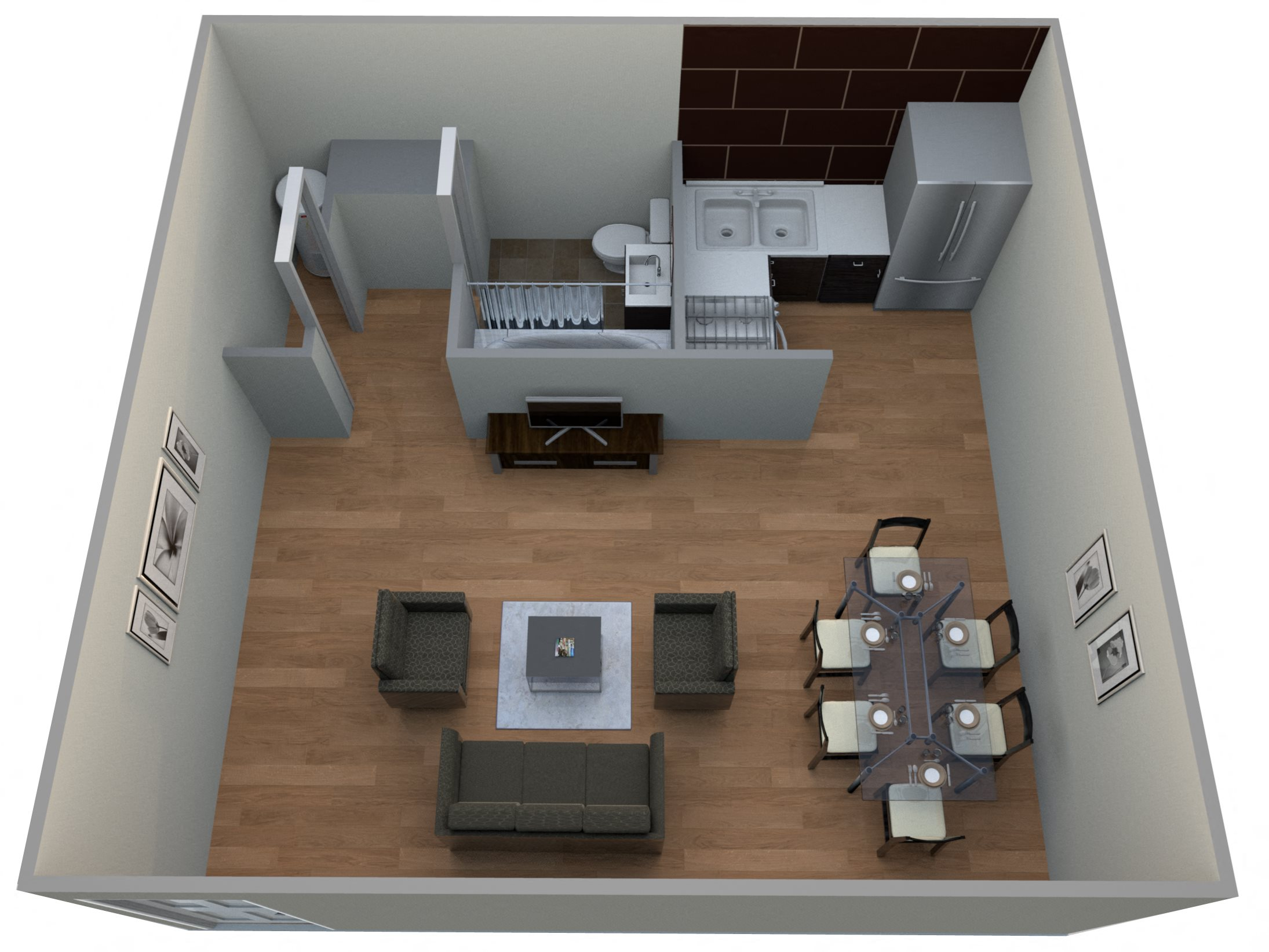 #8 New Orleans - Efficiency Floor Plan 16