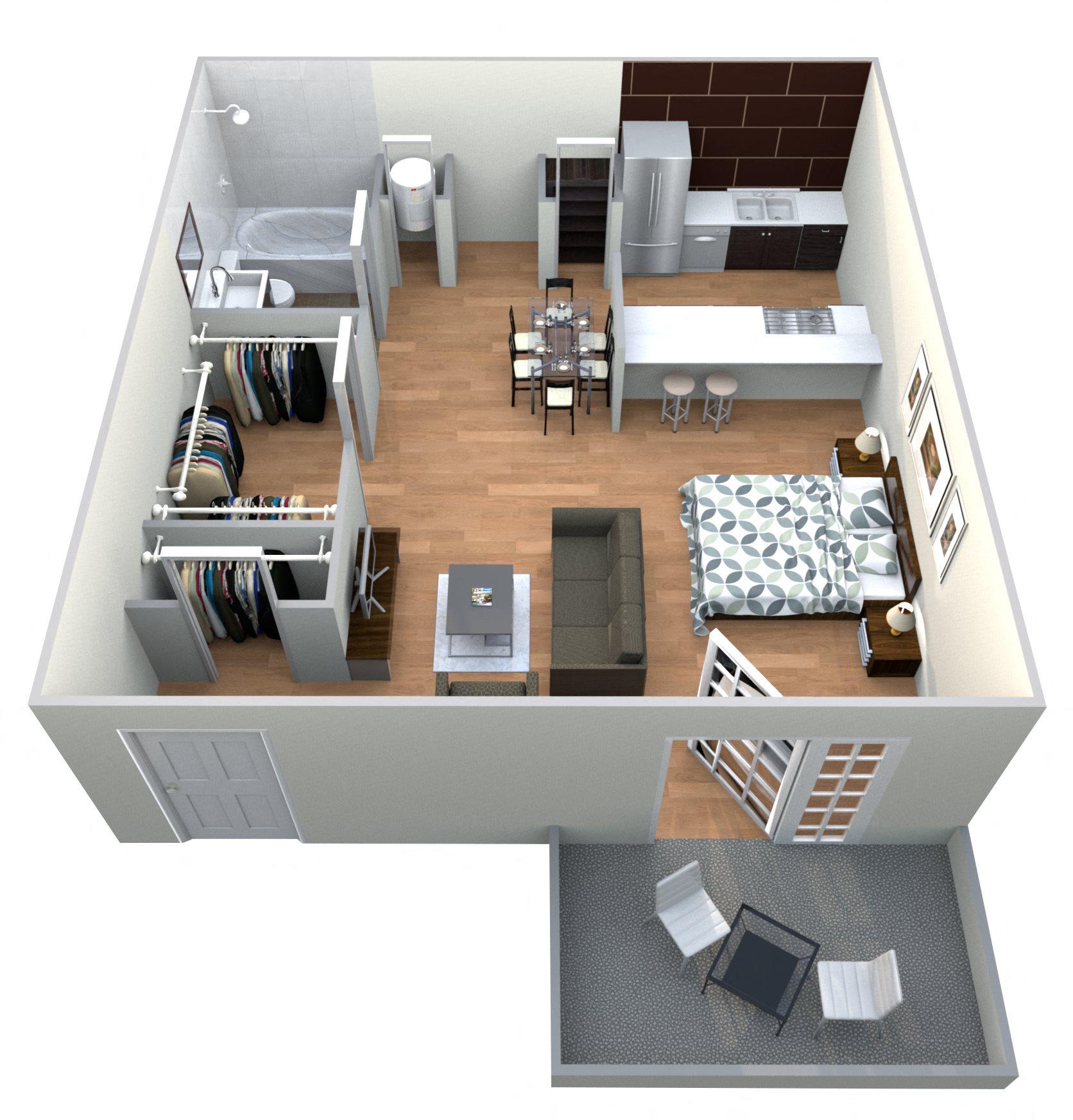 Palmetto - Efficiency Floor Plan 1
