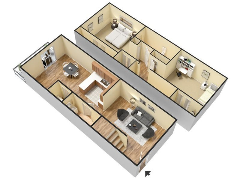 2 Bed/1.5 Bath Floor Plan 3