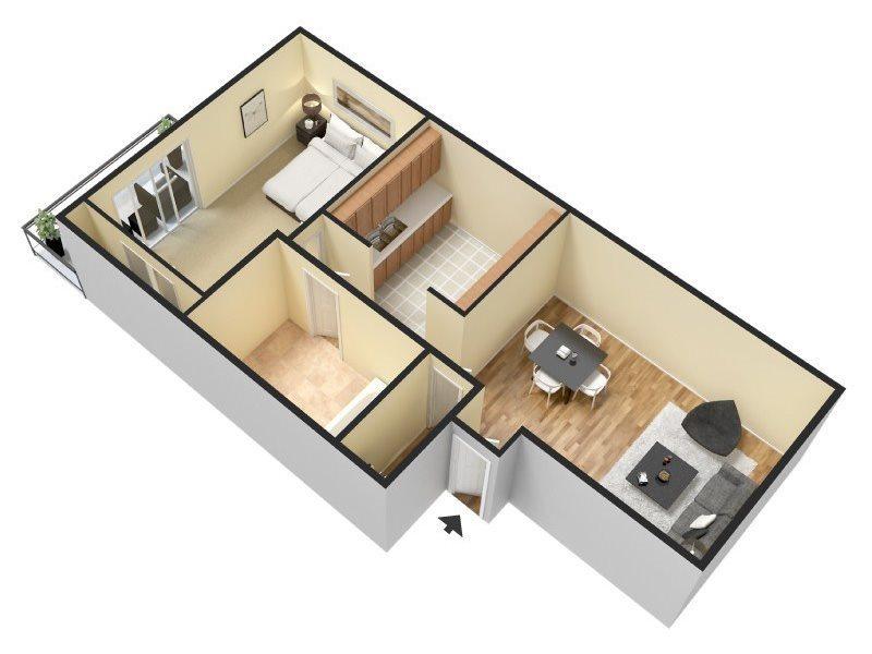 1 Bed/1 Bath - Small Floor Plan 1