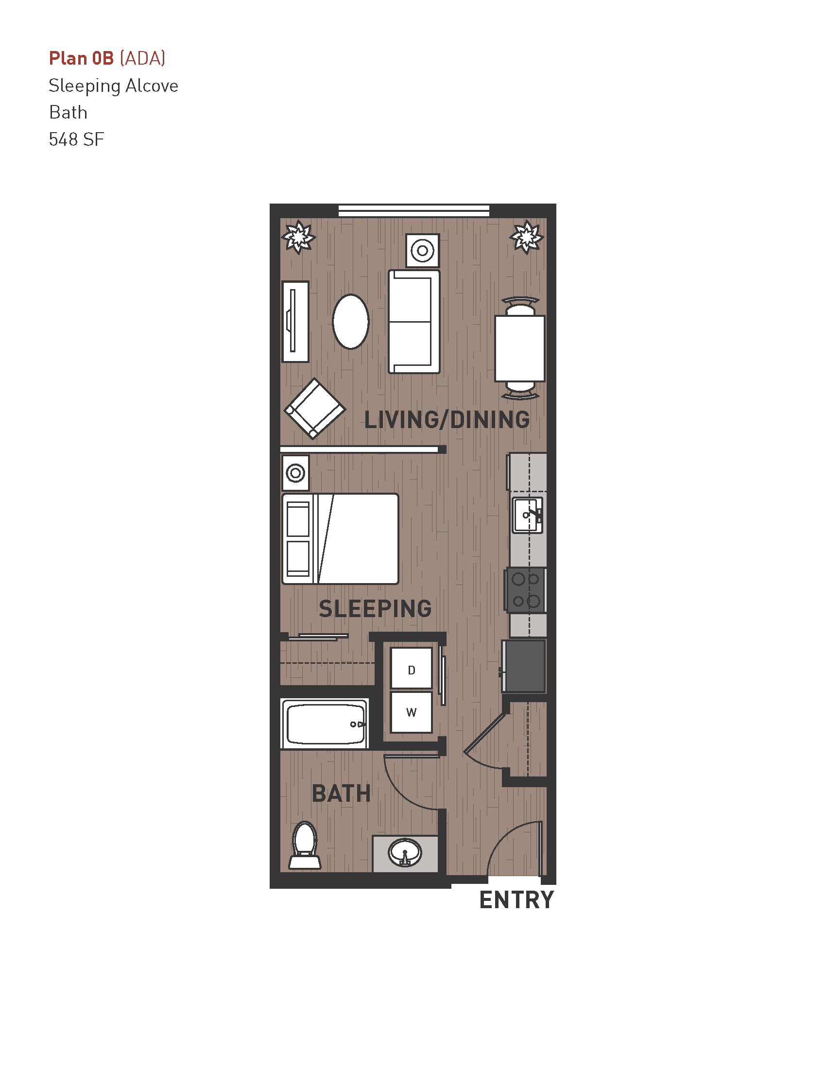 Suite A Floorplan Floor PlanOpen One Bedroom