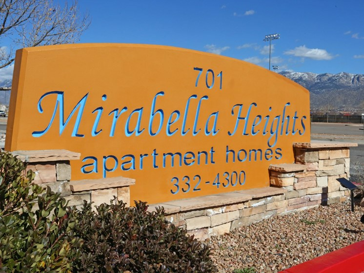 Signage at Mirabella Heights in Albuquerque, NM