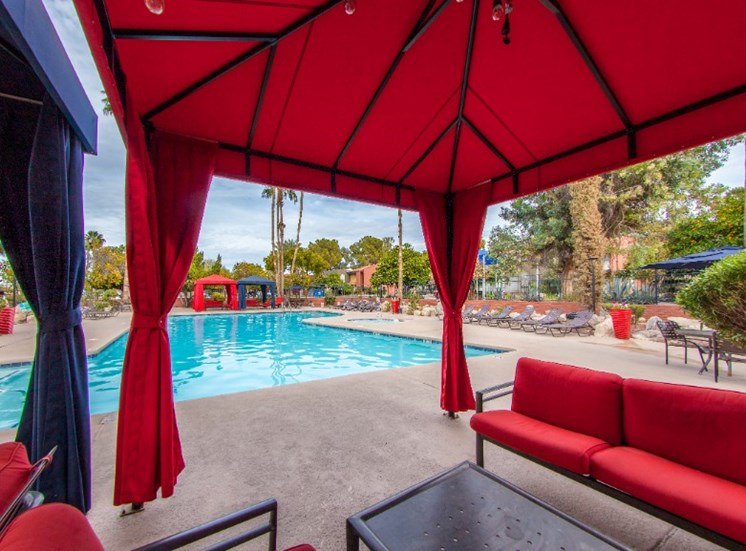 Pool, Pool Patio & Cabana at Mission Palm Apartments in Tucson, AZ