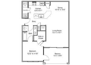 Casa Mirella Floor Plan A - Viscaya 1 Bed 1 Bath