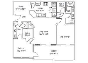 Casa Mirella Floor Plan B1 - Venetian 2 Bed 2 Bath