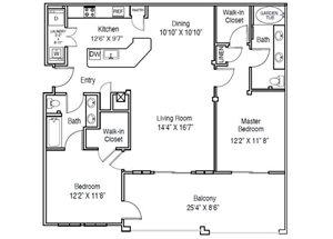 Casa Mirella Floor Plan B2 - Portofino 2 Bed 2 Bath