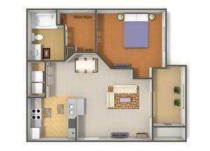 Emerson Park Auriga-A2 Floor Plan 1 Bedroom 1 Bath