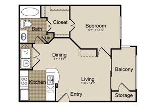 Emerson Park Aries-A1 Floor Plan 1 Bedroom 1 Bath