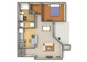Emerson Park Carina A-3 Floor Plan 1 Bedroom 1 Bath