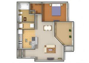 Emerson Park Dorado A5 Floor Plan 1 Bedroom 1 Bath