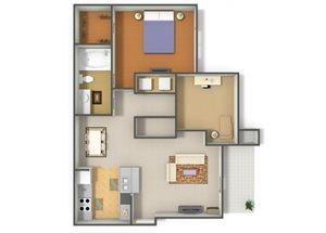 Emerson Park Lyra A-6 Floor Plan 1 Bedroom 1 Bath