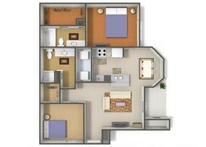 Emerson Park Mensa B-1 Floor Plan 2 Bedroom 2 Bath