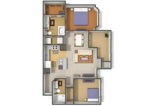 Emerson Park Tucana-B5 Floor Plan 2 Bedroom 2 Bath