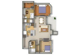 Emerson Park Ursa-B2 Floor Plan 2 Bedroom 2 Bath