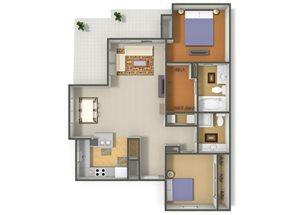 Emerson Park Vela-B4 Floor Plan 2 Bedroom 2 Bath