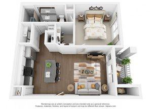 The Ellis Apartments | A1 Floor Plan 1 Bedroom 1 Bath