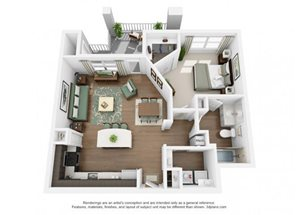 The Ellis Apartments | A5 Floor Plan 1 Bedroom 1 Bath