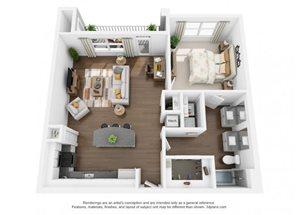 The Ellis Apartments | A6 Floor Plan 1 Bedroom 1 Bath