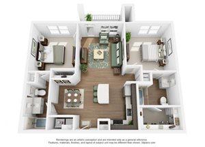 The Ellis Apartments | B1a Floor Plan 2 Bedroom 2 Bath