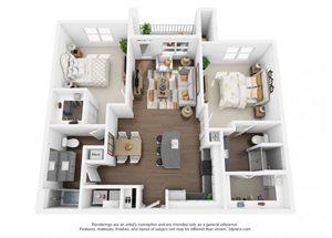 The Ellis Apartments | B2 Floor Plan 2 Bedroom 2 Bath