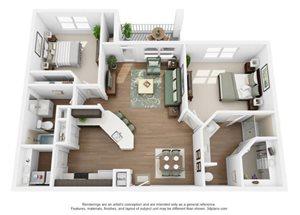 The Ellis Apartments | B3 Floor Plan 2 Bedroom 2 Bath