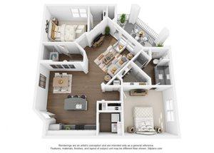 The Ellis Apartments | B4 Floor Plan 2 Bedroom 2 Bath